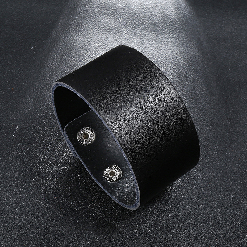 Modyle Fashion Wide Genuine Leather Bracelet for Men Brown Wide Cuff Bracelets & Bangle Wristband Vintage Punk Male Jewelry Gift