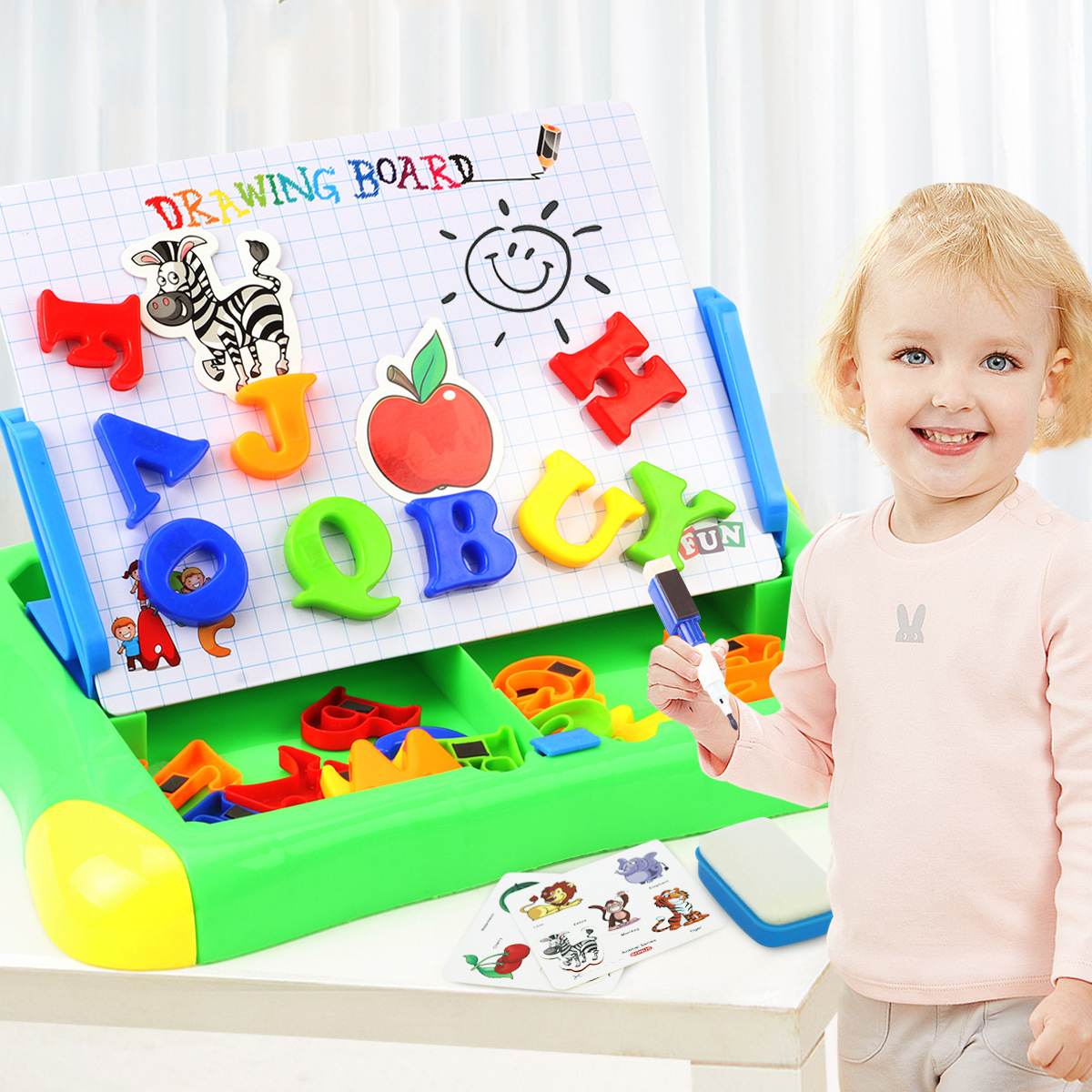 Children Magnetic Drawing Board Magnetic Alphabet Toys Plastic Color Magnetic Drawing Board Graffiti Lettered Stickers Foreign T
