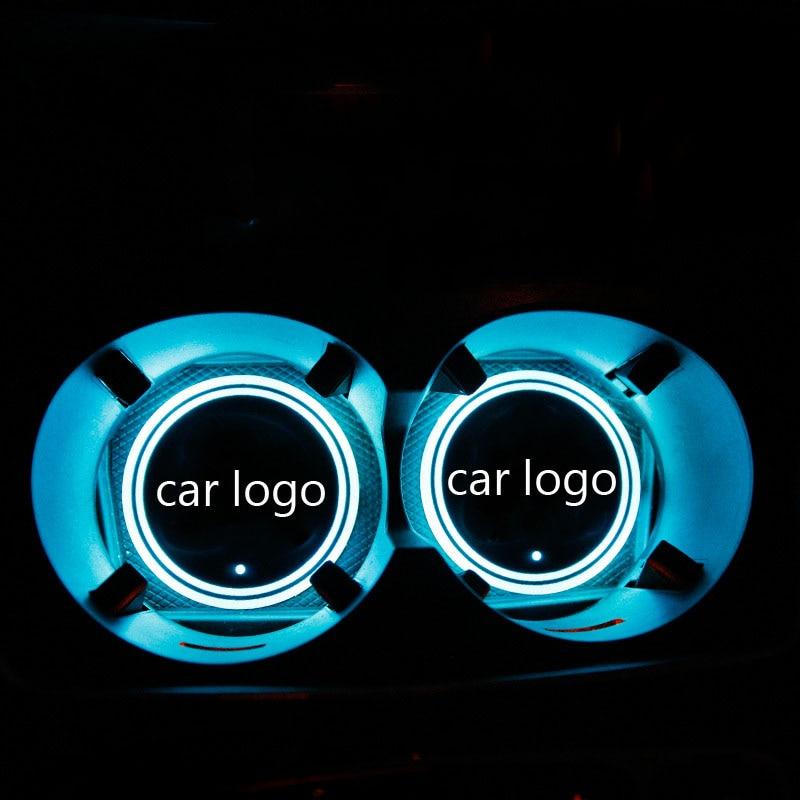 con Logo LED LED Impermeable para Bebidas Soporte de Bebidas LED para Coche Interestingcar costter 2 Unidades con Botella