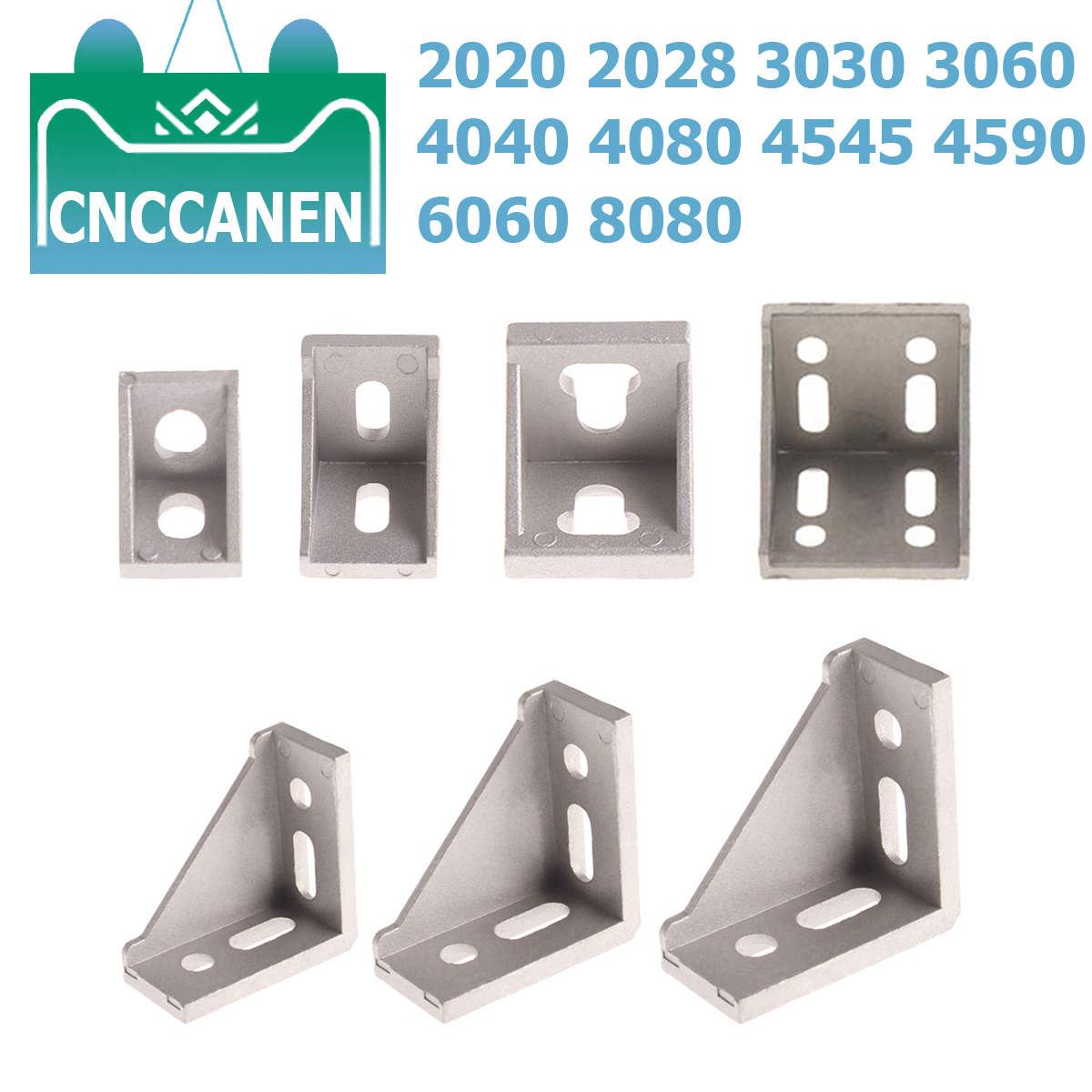 2/5PCS 2020 2028 <font><b>3030</b></font> 4040 Corner Bracket Fitting Angle L Connector Bracket Fastener for Aluminium Profile CNC 4545 6060 8080 image