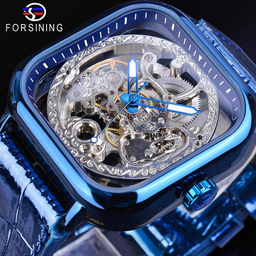 Forsining Blue Business Classic Modern Design Mens Business Automatic Watches Top Brand Luxury Mechanical Skeleton Male Clock