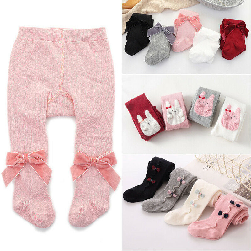 2019 Baby Stuff Infant Kid Girl Bowknot Cotton Warm Tights Stockings Autumn Winter White Black Grey Pink Solid Stockings 1-3Y