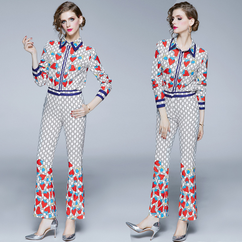 New Products WOMEN'S Dress Retro Fold-down Collar Strawberry Printed Shirt + High-waisted Bell-bottom Pants Fashion Leggings [Ph