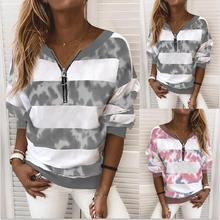 Large size loose women blouses 2021 spring and autumn striped ladies shirts tops fashion casual V-neck zipper women blouse 5xl