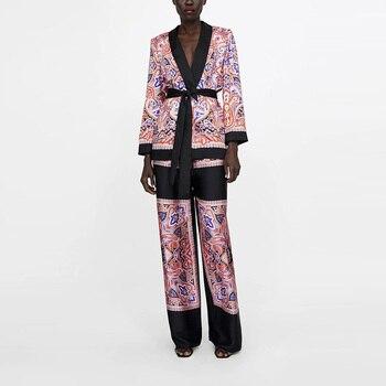 Fashion Patchwork Floral Suit Jacket With Sash Women Spring Blouse Coat Elegant V neck Office Coat Suit Pants Sets Outfit XZ1939 1
