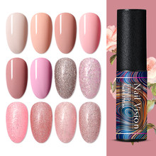 Nail Vision 5ml Rose Gold Glitter Gel Nagellak Glanzend Glitter Gel Sok Off Langdurige Nail Gel UV led Lak Polish(China)