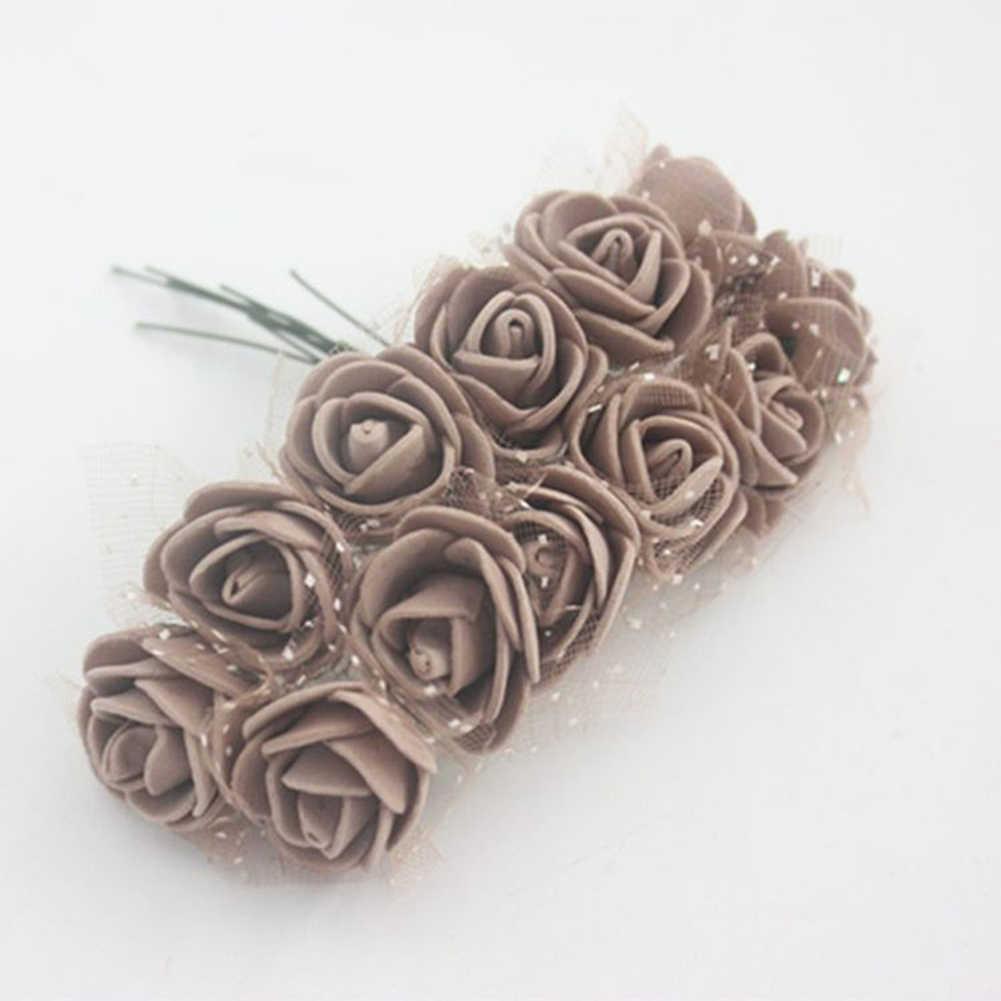 144 pçs cor sólida artificial flor de espuma artificial rosa flores falso flor decoração para casa dia dos namorados festa de casamento diy