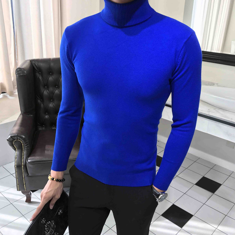 Homme Turtleneck Sweater Men Slim O- Neck Men'S Pullover Warm Solid Color High Collar Mens Knit Bottoming Sweater Sweater Male