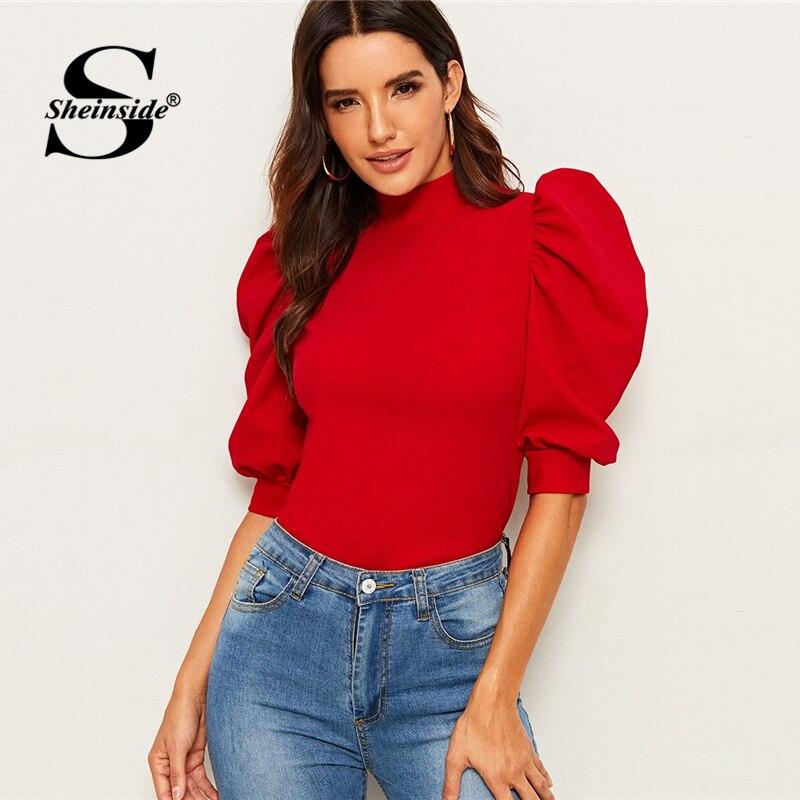 Sheinside Elegant Red Puff Sleeve Blouse Women 2019 Summer Half Sleeve Keyhole Back Blouses Ladies Solid Basic Minimalist Top