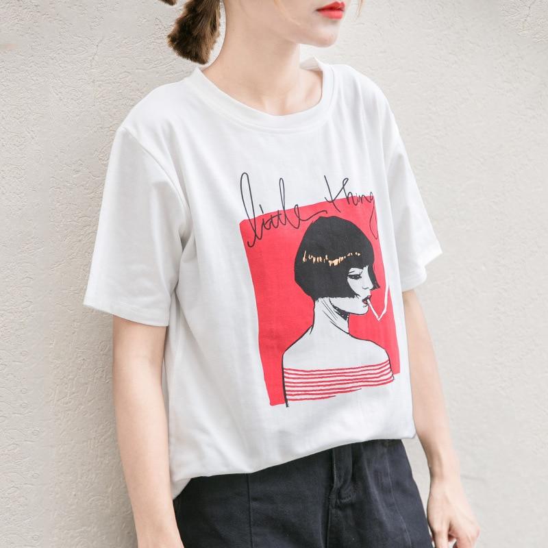2019 New Design Women Casual White T Shirt Regular O-Neck Female Short Sleeve Top Tees Smoking Girl Printed T-shirt Women