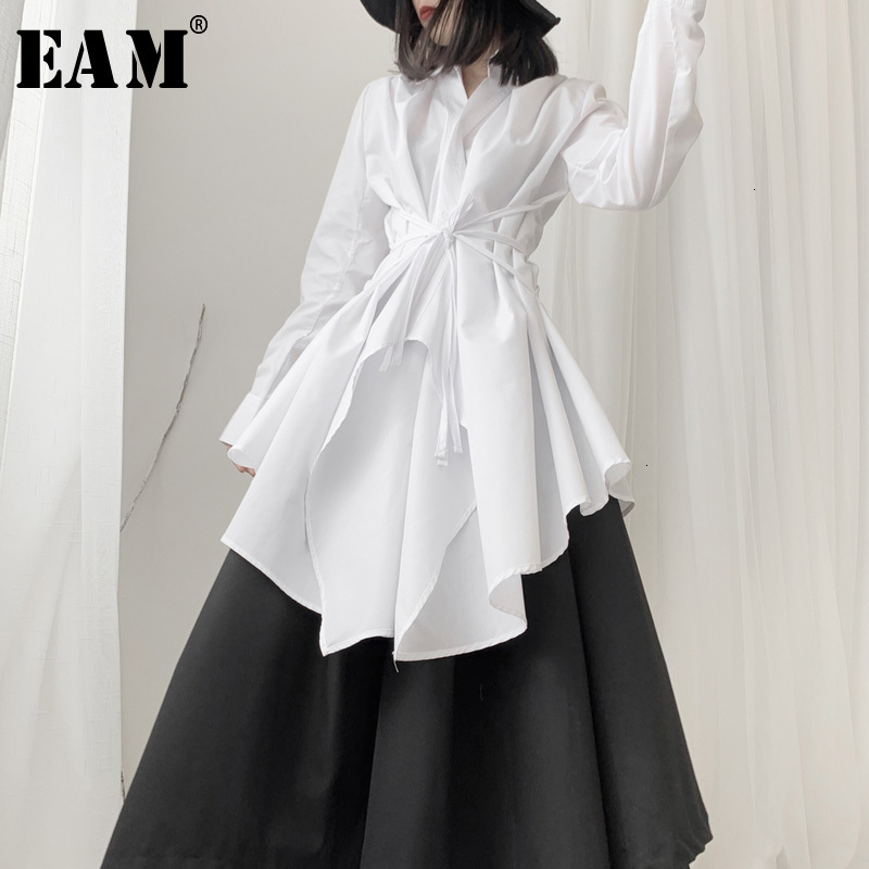 [EAM] Women Black Asymmetrical Long Blouse New Lapel Long Sleeve Loose Fit Shirt Fashion Tide Spring Autumn 2020 19A-a536