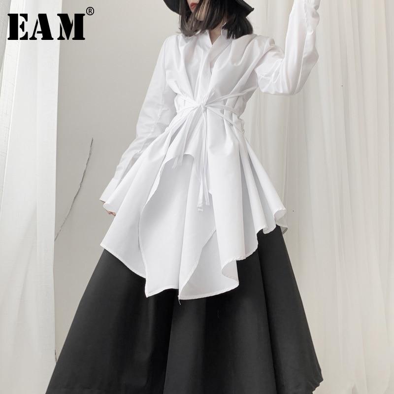 [EAM] Women Black Asymmetrical Long Blouse New Lapel Long Sleeve Loose Fit Shirt Fashion Tide Spring Autumn 2020 19A-a536