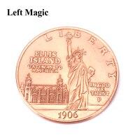 تمثال الحرية القديم عملة (حجم الدولار مورغان) ماجيك عملة الخدع السحرية التنقل مورغان للتحايل أوهام عن قرب الدعائم القفز
