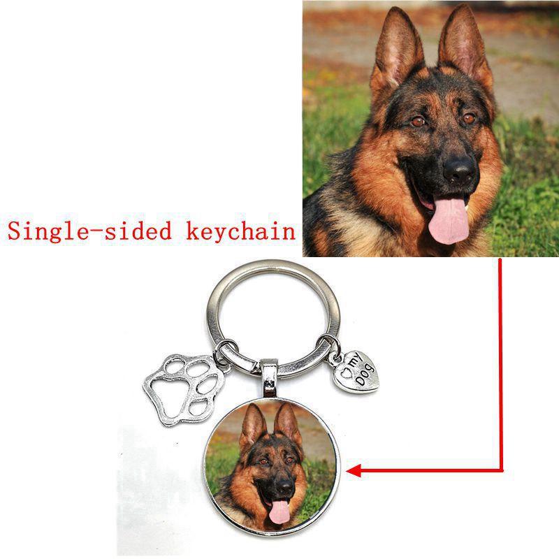 Custom DIY Dog Photo Keychain I Love Dog Glass Pendant Mini Heart Shape Keychain Car Key Gift Souvenir for Boys and Girls