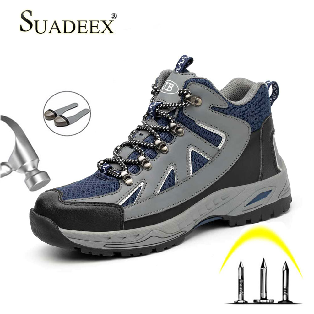 SUADEEX Men Boots Work Security Steel Toe Cap Safety Work Shoes For Male Anti-smashing Piercing Indestructible Shoes 35-48
