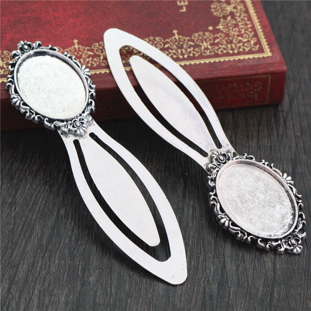 New Fashion 2pcs 18x25mm Inner Size Antique Silver Plated Simple Style Handmade Bookmark Cabochon Base  Cameo Setting (H1-10)
