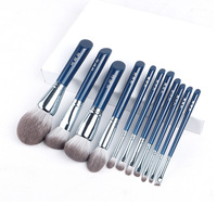 Pincel de maquillaje The Sky Blue, juego de brochas para maquillaje de fibra, plumas cosméticas para cara y ojos de alta calidad, pelo sintético, 11 Uds.