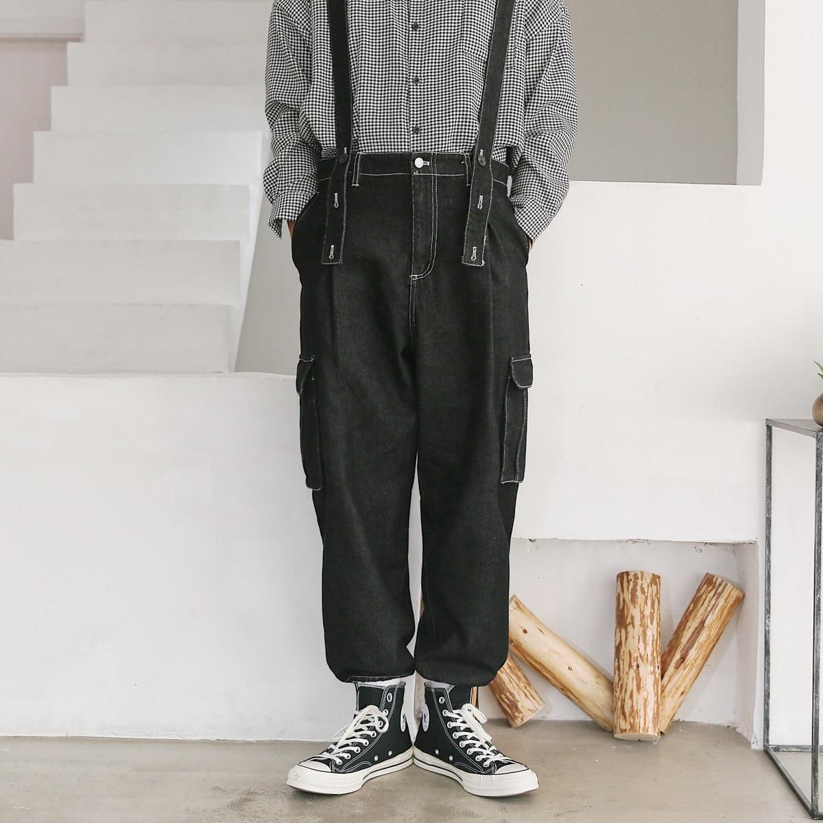 2019 Men's Loose Work Trousers Salopettes Romper Jumpsuit Male Overalls Black/blue Mens Casual Pants Wash Jeans Plus Size M-2XL