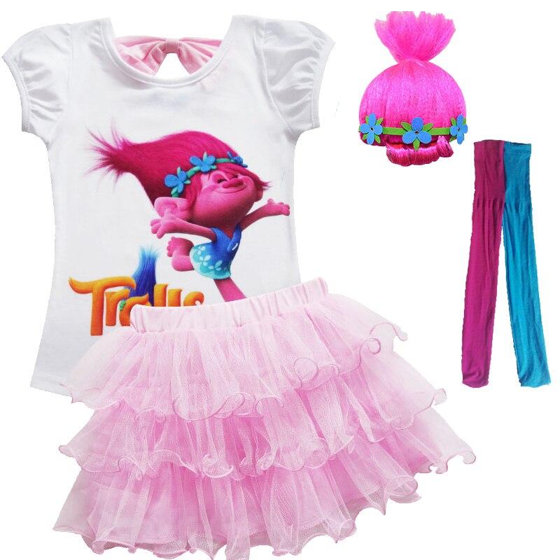 Toddler Girls Summer Casual Poppy Skirt Cartoon Troll's Vampire Vestidos Wig Legging Baby Girls Clothes Dress For Kids Costume 1
