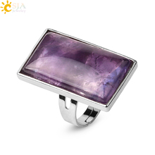 CSJA Rectangle Natural Stones Finger Rings Silver-color Adjustable Ring Healing Crystal Pink Quartz Women Statement Jewelry G456