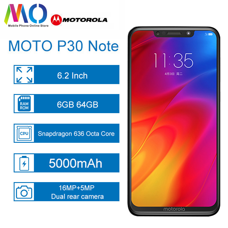 Motorola P30 Note moto one power 5000mAh Android 8.1 Smartphone 6.2 inch Snapdragon 636 Octa Core 6GB 64GB 16.0MP Mobile phone