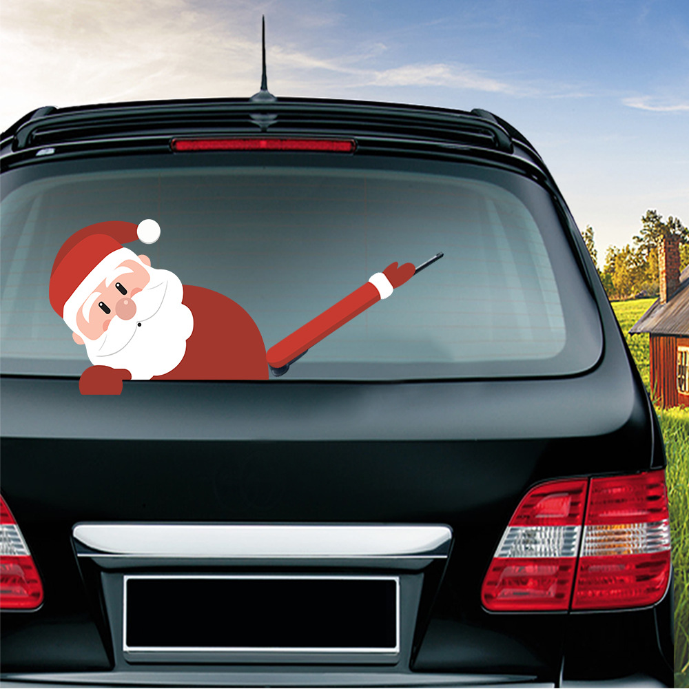 Car Stickers Christmas Decoration Santa Claus 3D PVC Waving Car Stickers Styling Window Wiper Decals Rear Windshield Decoration (9)