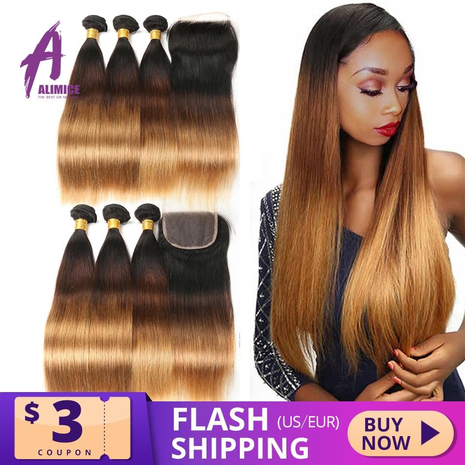 Alimice destaque cabelo liso t1b/4/30 ombre, pacotes de cabelo liso com fechamento peruano cabelo humano tece fecho 3 tom do tom