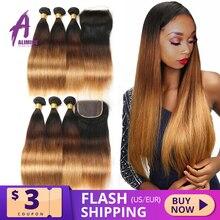 Alimice mechones de pelo liso T1B/4/30, cabello humano peruano con cierre, mechones con cierre, 3 tonos