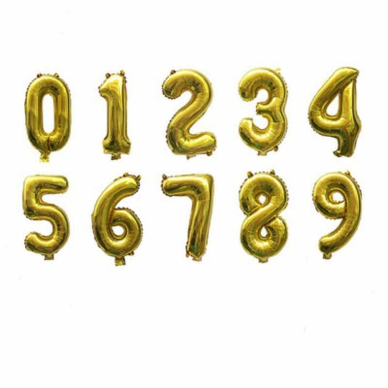 1 Pc Numero Palloncino Aerostati Della Stagnola di Oro Silve Felice Festa di Compleanno Decorazione di Cerimonia Nuziale Palloncini