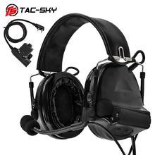 TAC-SKY U94 Kenwood plug PTT + COMTAC II silicone earmuffs noise reduction pickup military shooting tactical headset BK