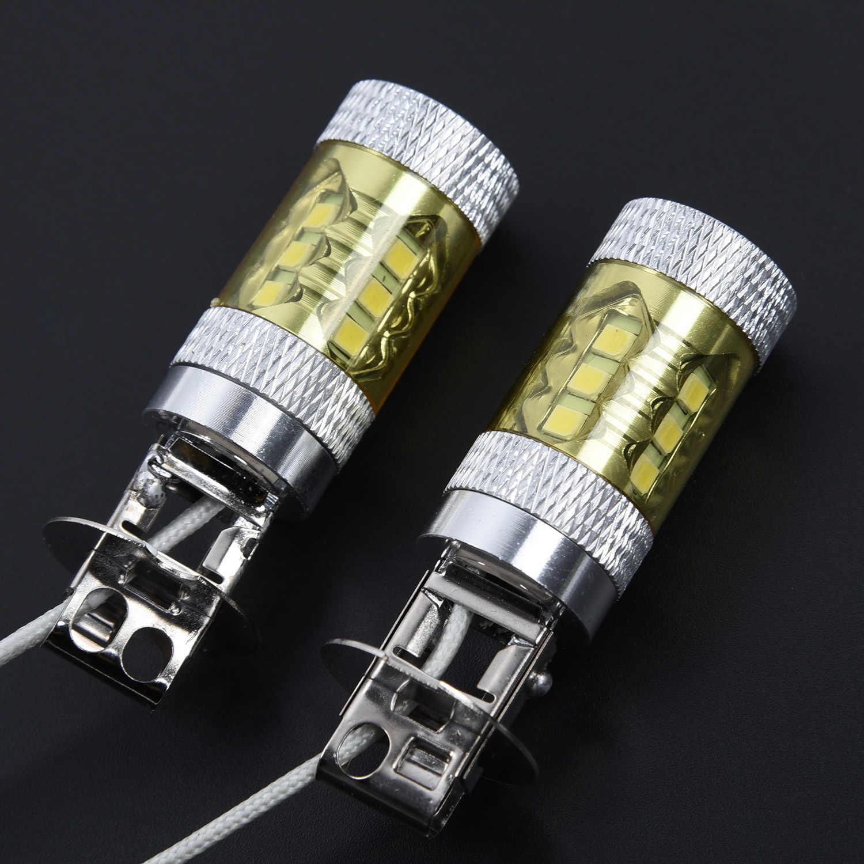 2pcs סט 12-24V H3 80W 16 SMD LED רכב ערפל אור הנורה צהוב גבוהה כוח משאית