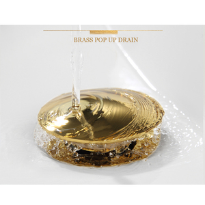 Image 2 - Brass Basin Sink Pop Up Drain Brass Drain Plug Gold Bathroom Sink Pop Up Drain With and Without Overflow