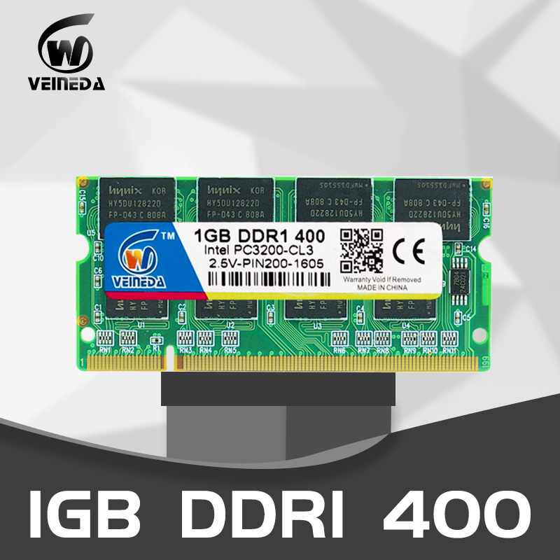 VEINEDA ddr1 <font><b>1gb</b></font> ram Notebook 2GB 2x1GB PC3200 <font><b>DDR400</b></font> 400Mhz 200pin DDR1 Sodimm Laptop Memory RAM image