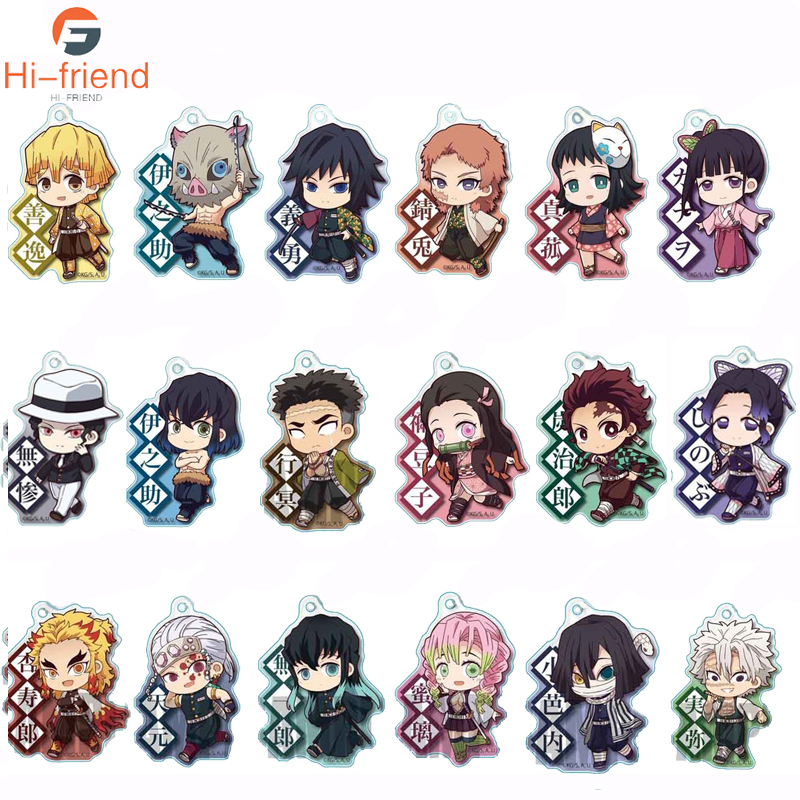 Anime Demon Slayer Kimetsu No Yaiba Two-sided Keychain Tanjirou Nezuko Zenitsu Inosuke Cosplay Acrylic Key Chain For Fans Gift