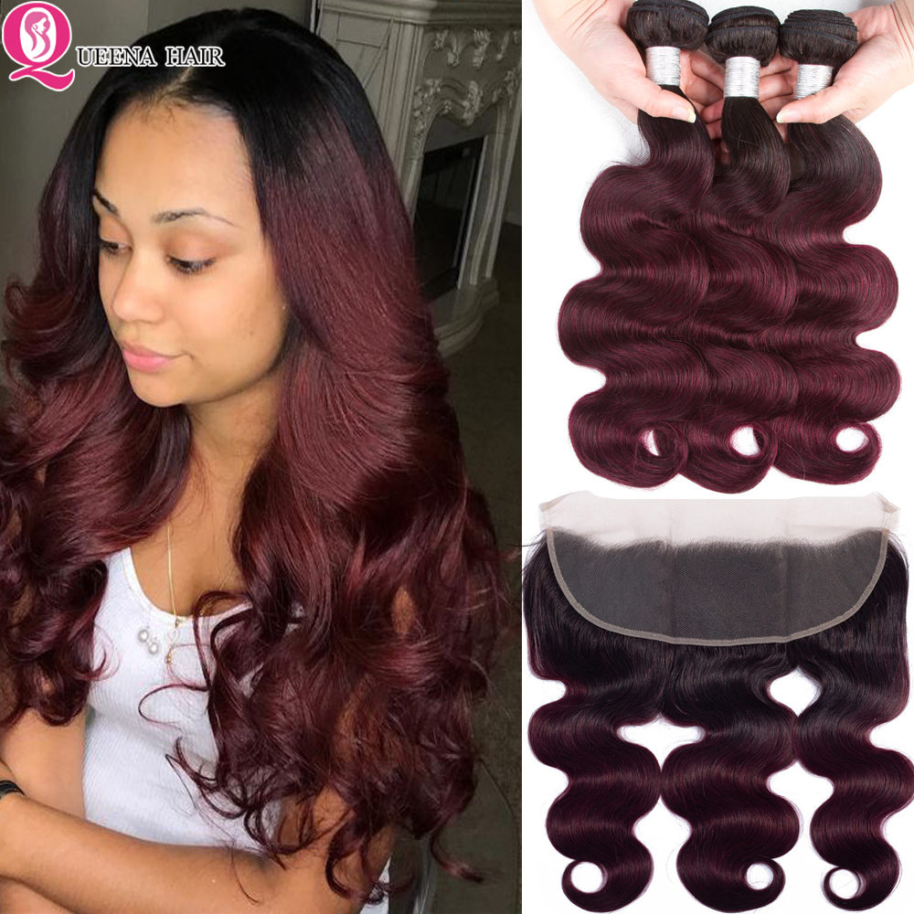 Ombre 1B 99j Bundles With Frontal Closure Remy Colored 99 J Burgundy Body Wave Raw Indian Human Hair Weave Bundles With Frontal