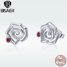BISAER Stud Earrings for Women Genuine 925 Sterling Silver Elegant Rose Earrings Femme Boucle Silver Fashion Jewelry GAE006 [black awn] wedding stud earrings for women genuine 925 sterling silver jewelry black spinel stone boucle d oreille brincos t038
