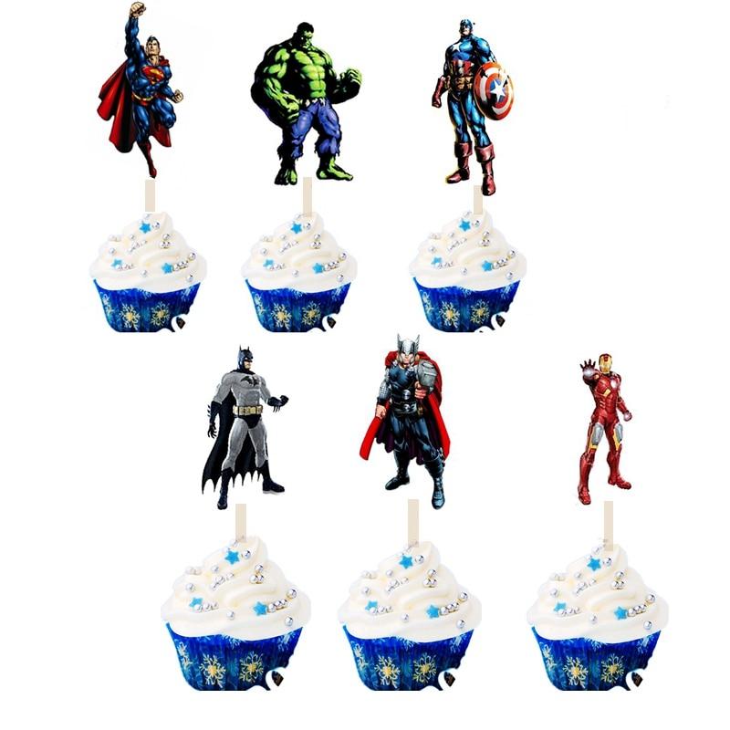 Remarkable 24Pcs Happy Birthday Cake Toppers Picks The Avengers Superhero Funny Birthday Cards Online Elaedamsfinfo