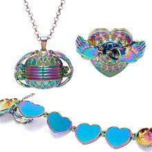 Rainbow Magic 4 Photo Pendant Necklace Angel Wing Memory Floating Locket Jewelry Pet Family Pictures Fashion Album Box Necklace(China)
