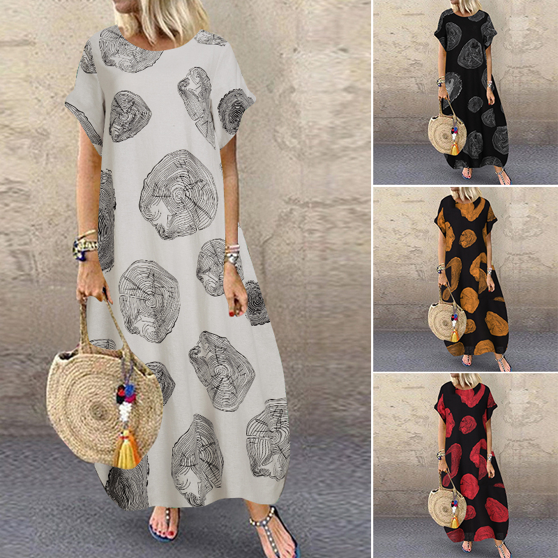 Vintage Printed Maxi Dress Women's Summer Sundress ZANZEA 2020 Casual Short Sleeve Vestidos Female O Neck Robe Plus Size 5XL