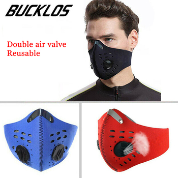 Activated Carbon Filter Masks PM2.5 Double Air Valve Reusable Cycling Face Mask Anti-virus Anti-fog Windproof Prevent Flu Masks