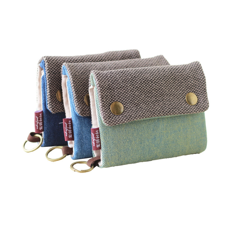 Zipper Women Cotton Fabric Short Wallet For Female Large Capacity Gray Blue Ladies Denim Multifunction Men Purse Mini Carteira