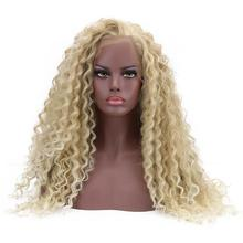 24'' Long Curly Synthetic 15*4.5 Swiss Lace Front Wig Deep Blond Bohemian Natural Part Glueless Afro