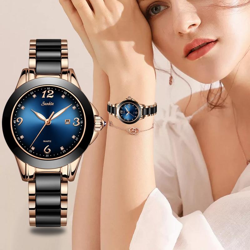 LIGE бренд SUNKTA модные женские часы женские Топ Бренд роскошные керамические кварцевые часы женские водонепроницаемые часы браслет подарок ...