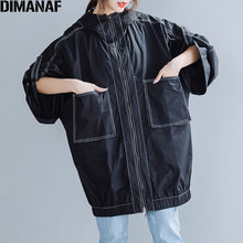 DIMANAF Plus Size Women Jackets Coat Autumn Oversize Hooded Zipper Cardigan Casual Loose Basic Outerwear Female Clothing Black
