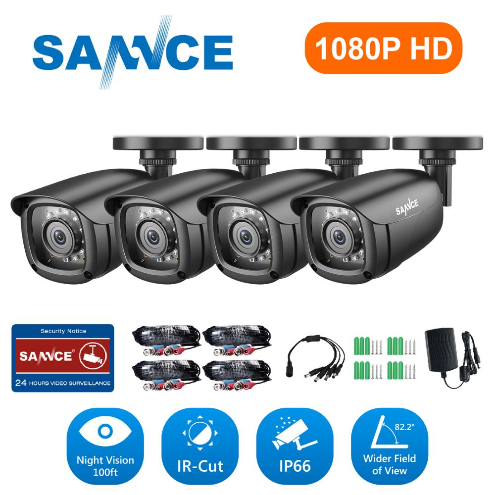 SANNCE 1080P HD 2PCS 4PCS Outdoor Bullet Weatherproof TVI Cameras Home Video Security Cameras Kit CCTV Surveillance Smart IR Kit