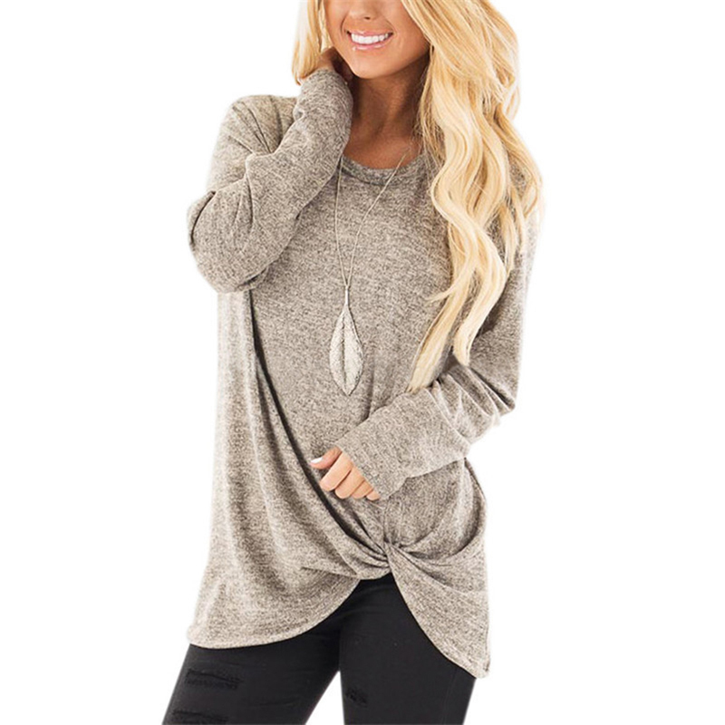 2019 Autumn Women Casual Long Sleeve T Shirt Top Plus Size Female Side Twist Knotted <font><b>Tshirt</b></font> Women Shirts Korean Clothes image