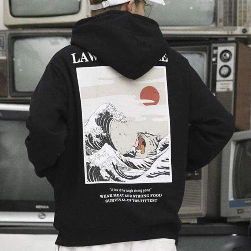 Autumn Japanese Print Men's Hoodies Hooded Streetwear Funny Cat Wave Velvet Hoody Men 2019 Winter Casual Unisex Black Sweatshirt