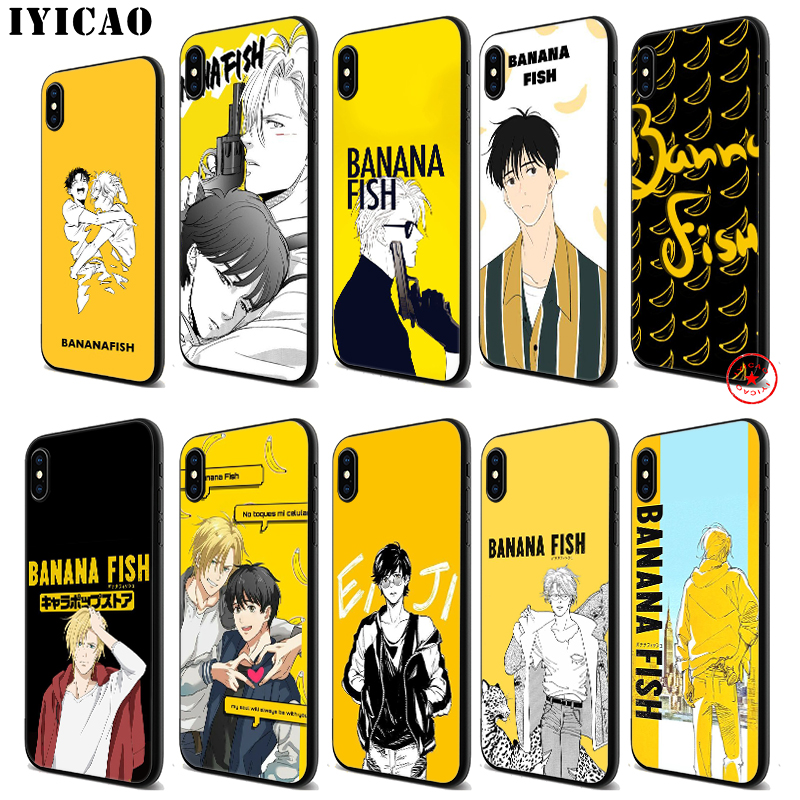 IYICAO Banana Fish Anime Soft Black Silicone Case for iPhone 11 Pro Xr Xs Max X or 10 8 7 6 6S Plus 5 5S SE