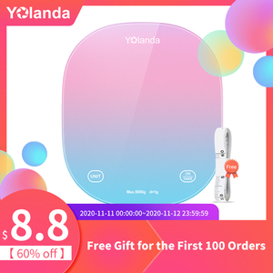 Yolanda 5kg Smart Kitchen Scale Bluetooth APP Household Food Scales Weighing Measuring Tool Diet Record Calorie Checking