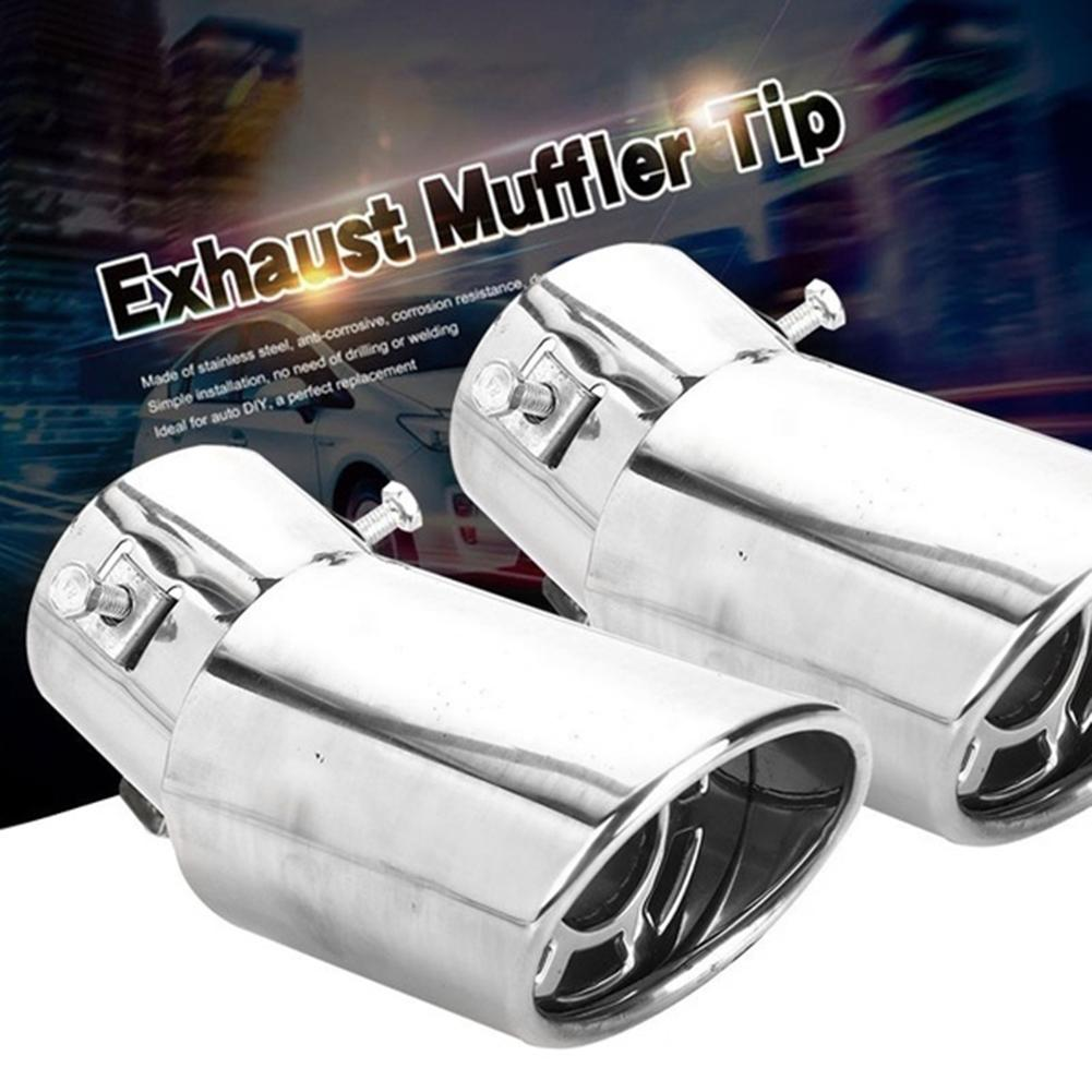 Car exhaust pipe muffler tail pipe outlet nozzle end with net universal oval inner diameter stainless steel trim tip